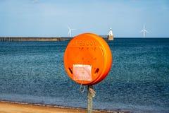 Nordsjökust på den södra stranden i Blyth, England, UK royaltyfri foto
