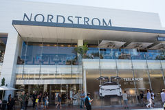 Nordstrom at The Grove. Los Angeles, CA: July 16, 2016: Nordstrom store and Tesla showroom in the store at The Grove shopping mall in the Los Angeles area Royalty Free Stock Photography