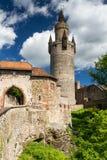 Nordtor und Adolfsturm des Schlosses Friedberg Stockbilder