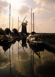 Norfolk broads. Horsey mere and mill stock image