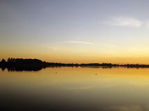 Norfolk broads. England east anglia the norfolk broads national park filby broad at sunset royalty free stock image