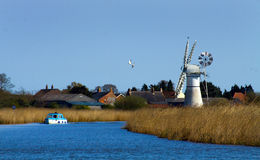 Norfolk Broads. Looking along one of the rivers on the Norfolk Broads royalty free stock photos