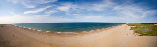 Norfolk coast line, sunny day at the beach panorama Stock Photos