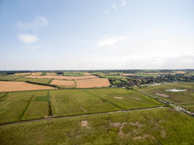 Norfolk coast line, sunny day 30 metres from the beach. Norfolk coast line, sunny day at the beach taken with a drone at 80 metres in the sky, blue skies Royalty Free Stock Images