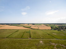 Norfolk coast line, sunny day 30 metres from the beach. Norfolk coast line, sunny day at the beach taken with a drone at 80 metres in the sky, blue skies Royalty Free Stock Photo