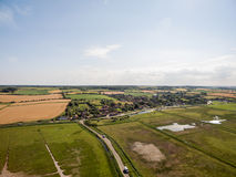 Norfolk coast line, sunny day 30 metres from the beach. Norfolk coast line, sunny day at the beach taken with a drone at 80 metres in the sky, blue skies Stock Photo