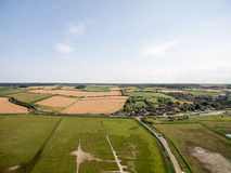 Norfolk coast line, sunny day 30 metres from the beach. Norfolk coast line, sunny day at the beach taken with a drone at 80 metres in the sky, blue skies Stock Image