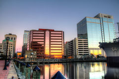 Norfolk. The downtown area of Norfolk virginia lit in evening light royalty free stock images