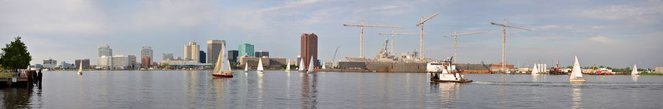 Norfolk and Elizabeth River panorama, Virginia Royalty Free Stock Image