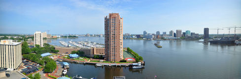 Norfolk och Elizabeth River panorama, Virginia Royaltyfri Bild