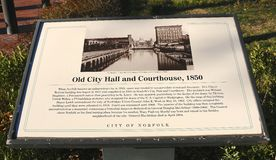 Norfolk Old City Hall Marker Stock Photography
