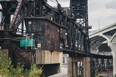 Metal Framework Bridge in Urban Industrial Community stock image