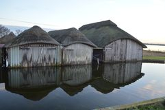 Norfolk Thatched Boathouses Stock Photography