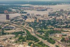 Norfolk virginia aerial of city skyline and surroundings stock photo