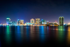 Norfolk, Virginia during a Warm Fall Night Stock Images