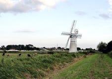 Norfolk broads windmill uk. Windmill on the Norfolk broads UK royalty free stock photos