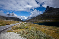 Norge - bergväg Arkivfoton