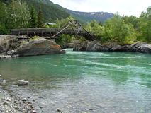 Norge - bro på Lom Arkivbild