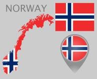 Norge flagga, översikt och översiktspekare royaltyfri illustrationer