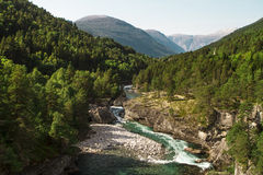 Norge floden mellan bergen Royaltyfria Foton