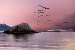 Norge Lofoten öar, turnerar kryssningskepp Fotografering för Bildbyråer
