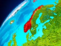 Norge på jord från utrymme Royaltyfria Bilder