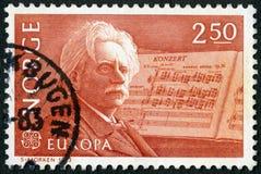 NORGE - 1983: shower Edvard Hagerup Grieg 1843-1907, kompositör och hans pianokonsert i En-minderårig Arkivfoton