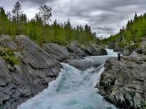 Norge-sikt av floden Otta Royaltyfria Foton
