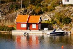 Norge vilage vid fjorden Kragero, Portor Royaltyfri Fotografi