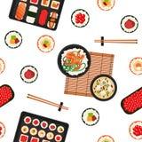 日本食物 鱼食物荷兰芹牌照烤海运 背景筷子nori米寿司 无缝的模式 免版税库存照片