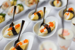 Nori rolls with red caviar Stock Photos