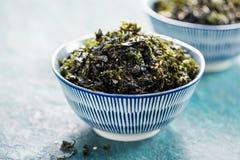 Nori Seaweed friável com sésamo e sal do mar imagem de stock