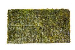 Nori sheet of edible seaweed species, isolated on white Stock Photos