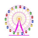 Noria colorida del atraktsion de la silueta. ilustración del vector