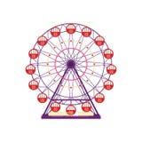 Noria colorida, elemento del parque de atracciones en estilo plano aislado en el fondo blanco Family Entertainment, feliz-va libre illustration