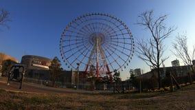 Noria detr?s del cielo azul en tiro ancho del lapso de tiempo de Odaiba Tokio almacen de metraje de vídeo