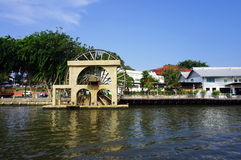 Noria sul fiume in Melaka Fotografia Stock Libera da Diritti