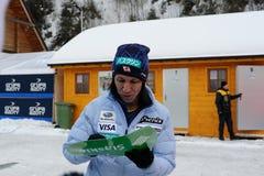 Noriaki Kasai - znany na całym świecie narciarskiego doskakiwania sportowiec od Japonia daje autografom w Wisla, Polska przed FIS Obraz Stock