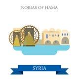 Norias du voyage plat d'attraction de vecteur de Hama Syria visitant le pays illustration stock