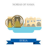 Norias of Hama Syria vector flat attraction travel sightseeing. Norias of Hama in Syria. Flat cartoon style historic sight showplace attraction web site vector Stock Image