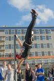 NORILSK, RÚSSIA - 7 DE JULHO DE 2016: O exercício da rua cronometrou à celebração do dia a cidade fotografia de stock royalty free