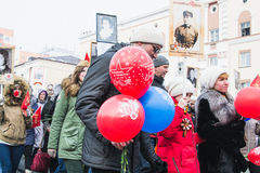 NORILSK, RUSIA - 9 DE MAYO DE 2016: Victory Day en Norilsk Foto de archivo