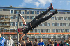 NORILSK, RUSSIA - JULY 7, 2016: Street workout timed to the celebration of the day the city. Royalty Free Stock Photography