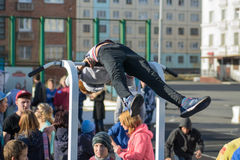 NORILSK, RUSSIA - JULY 7, 2016: Street workout timed to the celebration of the day the city. Royalty Free Stock Photo