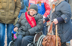NORILSK, RUSSIA - MAY 9, 2016: Procession of veterans of the Great Patriotic War Royalty Free Stock Photos