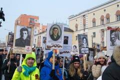 NORILSK, RUSSIE - 9 MAI 2016 : Régiment immortel dans Norilsk Photo stock