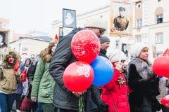 NORILSK RYSSLAND - MAJ 9, 2016: Victory Day i Norilsk Arkivfoto