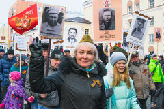 NORILSK RYSSLAND - MAJ 9, 2016: Victory Day i Norilsk Royaltyfri Bild