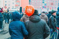 NORILSK RYSSLAND - MAJ 9, 2016: Victory Day i Norilsk Fotografering för Bildbyråer