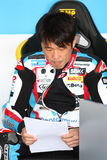Noriyuki Haga #41 em BMW S1000 RR com a equipe WSBK de Grillini DENTALMATIC SBK Imagem de Stock Royalty Free